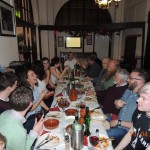 CA members celebrating over tapas following the Roman Spain talk