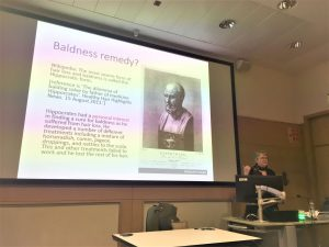 Helen King presenting the Whitehead Lecture in 2019